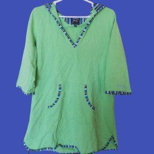 Hooded Beach Cover-up Green & Blue Girl XL